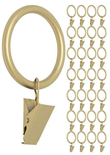 MERIVILLE Drapery Curtain Rings with Clip - 1.5-Inch Inner Diameter, Fits Up to 1 1/4-Inch Rod, Set of 28, Royal Gold Finish