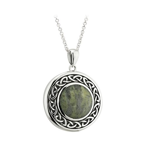 Biddy Murphy Connemara Marble & Sterling Silver Celtic Necklace Made in Ireland