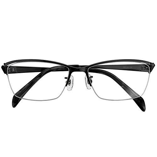 ブルーライトカット UVカット 遠近両用メガネ セイブルス ハーフリム DK2413 (ガンメタ) (メンズセット) 全額返金保証 境目のない 遠近両用 老眼鏡 (瞳孔間距離:57mm〜59mm, 近くを見る度数:+2.5)