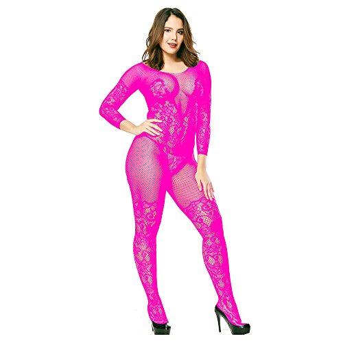 Liusdh Damen strümpfe Dessous Babydoll Netz Body Strümpfe Nachtwäsche Adult Lace Bodysuit(Hot Pink,Free Size)