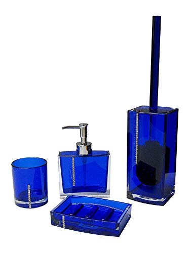 SANWOOD Badaccessoires Set 4-teilig Serie: Marilyn blau mit Swarovski Elements Seifenschale Seifenspender WC-Bürstengarnitur Mundspülbecher Waschbeckenzubehör