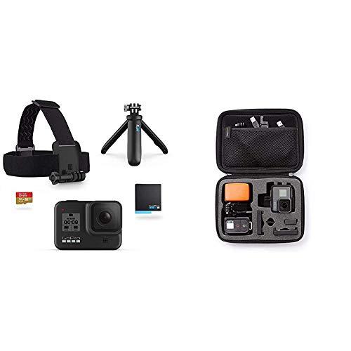 GoPro HERO8 Black Bundle - inklusive Shorty Stativ, Speicherkarte, Kopfbügel und Akku & Amazon Basics Tragetasche für GoPro Actionkameras, Gr. S