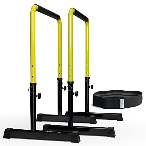 MERAKI Barras Paralelas de Altura Ajustable 76cm-98cm   Barras Paralelas Calistenia   Estabilidad Superior   Ideal Ejercicios de Fondo, Musculación, Flexiones, Fitness y Gimnasio en casa