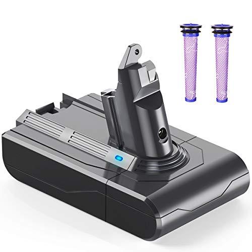 YABER 21.6V 3000mAh Batterie de Remplacement pour Dyson V6 DC62 DC59 DC61 DC58 Animal DC72 DC74 Aspirateur à Main avec 2 Filtres