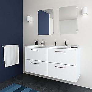 RANDALSA mueble de baño moderno Happy. Lavabo de doble seno 120cm. Conjunto completo. Blanco