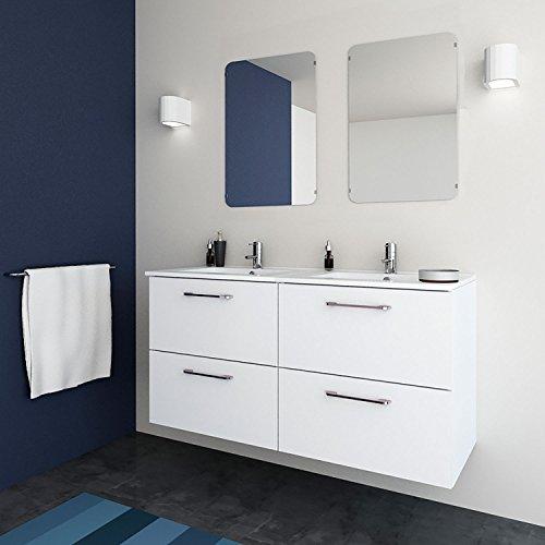 Randalsa Mueble de baño Moderno Doble Easy   Ancho 120 cm   120 x 60 x 45 cm Blanco   Mueble Doble + Lavabo cerámica de Doble Seno