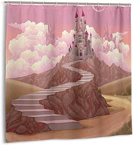 Duschvorhang Prinzessin Schloss Cartoon wie Bild auf dem Hügel mit Sonnenuntergang Bild Kunstdruck Wasserdichter Stoff Badevorhang für Badezimmer72 x 72 Zoll