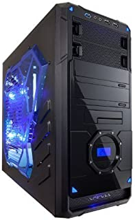 APEVIA X-Dreamer 4 ATX Mid Tower Gaming Case with 5 Fans, Blue Side Window, LCD Temperature Display, USB2.0/USB3.0/HD Audio Ports, Hard Disk Hot Swap Bay, up to 7 x Cooling Fan Space - Black/Blue