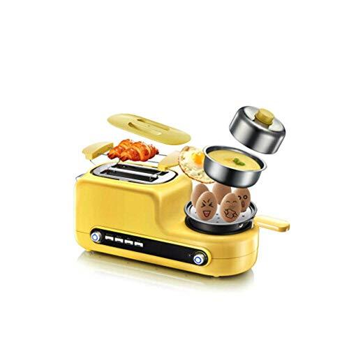 Kitchen Tostadora automática 3 en 1 Tostadora con hervidor de huevos, espejo, accesorio para panecillos integrado, bandeja recogemigas extraíble, tecnología de tostado rápido