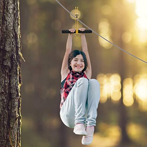 4YANG Tirolina para Adulto,Columpio con Plataforma para niños para Colgar en el Exterior con Freno de Resorte de Acero Inoxidable y tirolinas de Asiento para niños y Adultos (30 m)