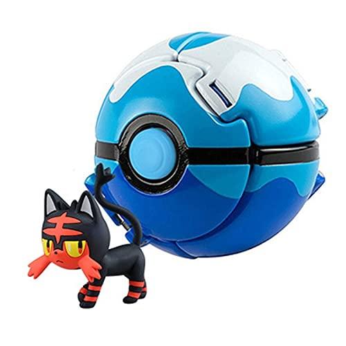 SUANNAI Figura de Anime Pokemon Elf Ball Anime Figura Pikachu Charmander Litten Rockruff Pokeball Pocket Monster Variant Juguete Acción Modelo Regalo