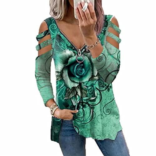 LYAZFC - Camiseta con Estampado de Flores Rosas y Cuello en V Multicolor Informal de otoño e Invierno para Mujer