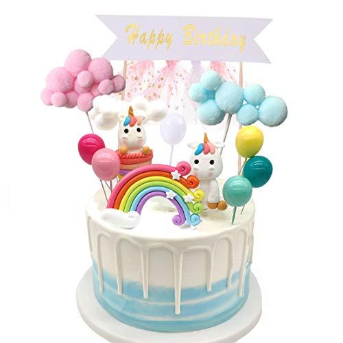Simoda Tortendeko Einhorn Geburtstag Kuchen Regenbogen Happy Birthday Girlande Luftballon Wolke Kuchen Topper für Kinder Mädchen Junge