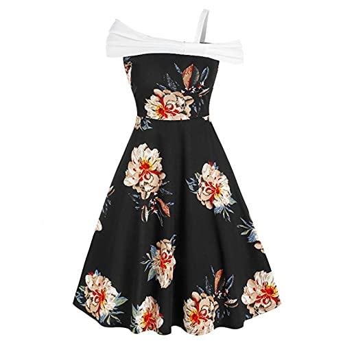 Vestido de cóctel para mujer, vintage, estilo Audrey, años 50, con un hombro, estilo retro Negro XXL