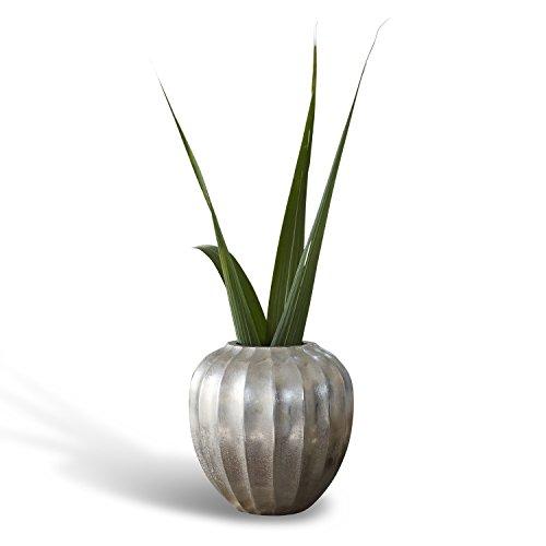 Loberon Vase Kingsley, Aluminium, H/Ø ca. 17/16 cm, antiksilber