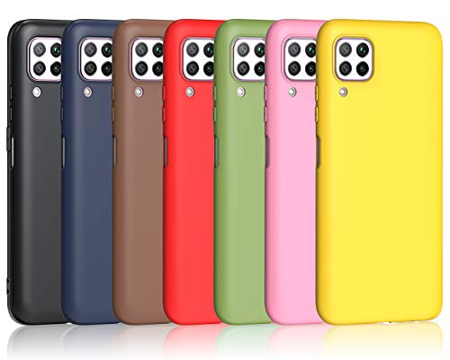 iVoler 7 Pieces Cover for Huawei P40 Lite, Ultra Thin Silicone Soft TPU Case Protective Gel Cover (Black, Blue, Green, Pink, Red, Yellow, Brown)