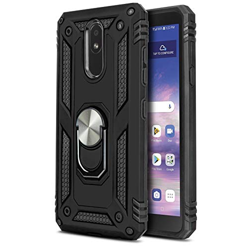 CasemartUSA Phone Case for [LG Journey LTE (L322DL)], [Loop Series][Black] Full Rotating Metal Ring Cover with Kickstand for LG Journey LTE (Tracfone, Simple Mobile, Straight Talk, Total Wireless)
