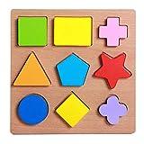 FLORMOON Puzzles de Madera para niños pequeños Bloques educativos preescolares Conjunto de pegboard Forma geométrica Colorida Rompecabezas Montessori Toy para niños