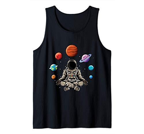 Astronaut doing yoga in the universe space galaxy yoga Tank Top