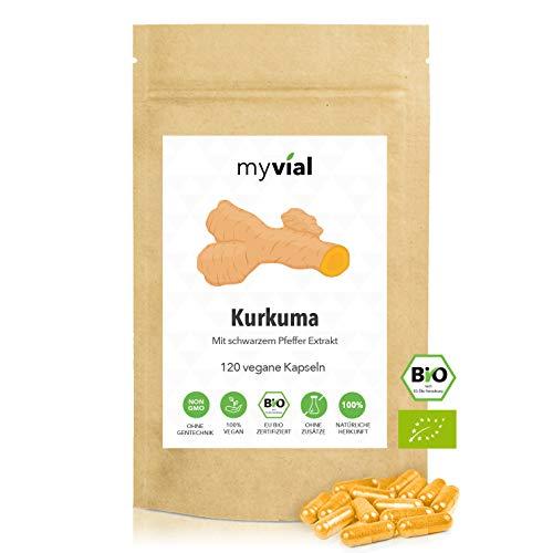 myvial® Kurkuma Curcuma Kapseln Bio hochdosiert mit schwarzem Bio Pfeffer Piperin 120 vegane Kapseln | 590mg Bio Kurkuma pro Kapsel | 100% rein & natürlich | Plastikfrei