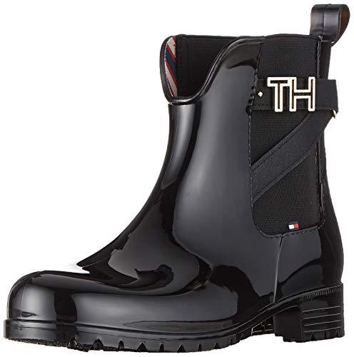Tommy Hilfiger Damen TH Hardware Rubber Bootie Stiefeletten, Schwarz (Black 990), 38 EU
