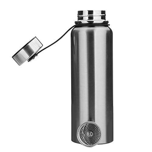 YYW 1.5 Liter Edelstahl Thermo Trinkflasche, Vakuum Isolierte Edelstahl Thermosflasche Auslaufsicher Wasserflasche Sportflasche, Doppelwandige Isolierflasche für Sport (Silber,1.5 L (13x3.5 Zoll))