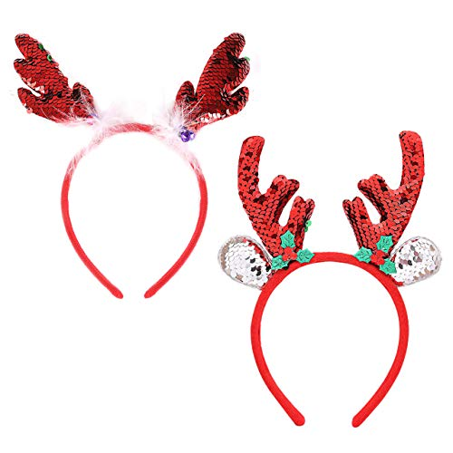 PHALIN Christmas Headband Set for Women X-Mas Sequins Reindeer Antlers Hairbands Festive Party Gift for Kids Girls (2PC Red 1)