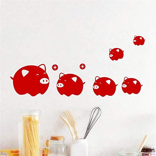 Pegatinas de pared rojo guarro de dibujos animados para habitaciones de niños ventana decoración para el hogar año nuevo chino festival calcomanías de pared pvc arte mural carteles de bricolaje