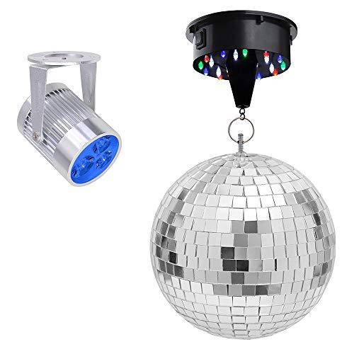 Yescom 12' Mirror Disco Ball w/Rotating Motor & 3W 3 Blue LED Pinspot Spot Light Kit Home Party Club Lighting