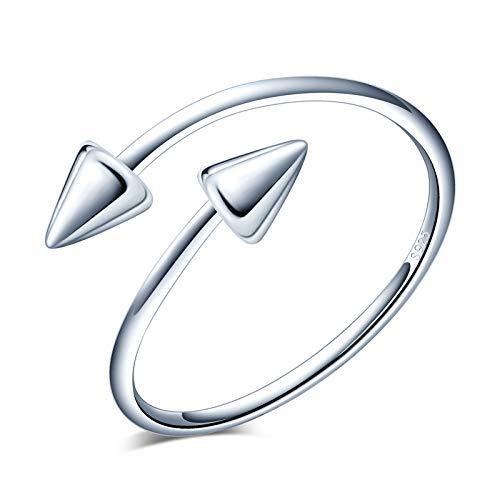 Yumilok Anillo de plata 925, anillo ajustable para mujer y niña, anillo de compromiso abierto, anillo de flecha, tamaño ajustable