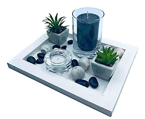 Centro de Mesa Madera Decorativo Moderno Estilo Vintage Ideal para Decorar Diferentes Espacios. (Blanco Vintage)