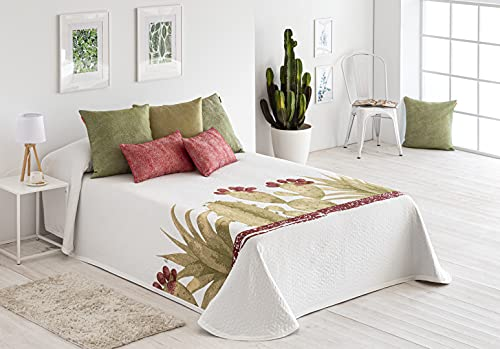 Colcha piqué Cactus para Cama de 150 (250x270 cm) Color 4 Verde