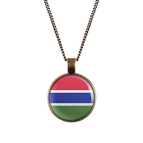 WeAreAwesome Gambia Flagge Halskette - Länderkette mit Fahne Anhänger Unisex Kette Afrika