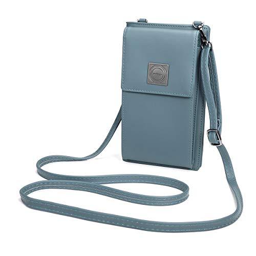 OURBAG Billetera de cuero con estilo de las mujeres Monedero pequeño y lindo Mini bolso de hombro Bolsa de teléfono Azul claro