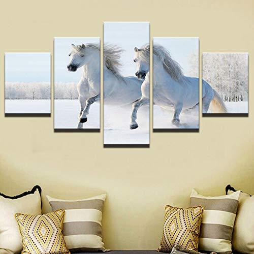 JYXJJKK 5 pintura de lienzo de decoración del hogar 100 * 50 CM solo lienzo Animales caballo blanco invierno nieve bosques Niños Adultos Padres Sala de estar Hogar Comedor Salón Regalos Halloween Acci