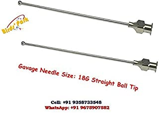 Bird Crop Feeding Needles for Birds & Mice Straight Ball TIP (2 Pcs with Free Syringe 5 ML)