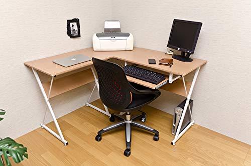 PC デスク 事務 机 パソコン、プリンター、書籍を置ける! おすすめ コーナーPCデスクセット ナチュラル