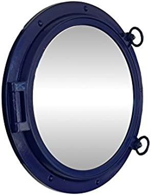 Handcrafted Model Ships Navy Blue Porthole - 24 - M Navy Blue Porthole Mirror 24 in. Port Holes Decorative Accent