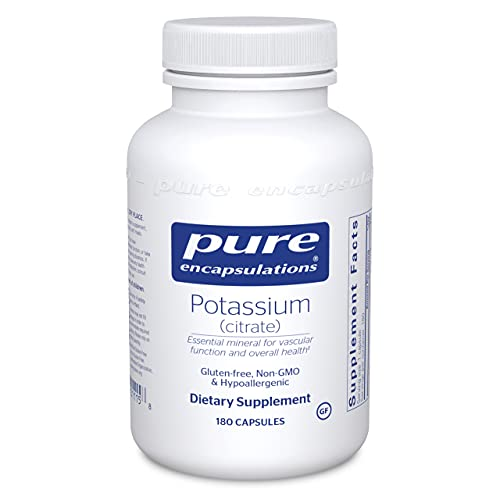 Pure Encapsulations Potassium (Citrate) | Essential Electrolyte Supplement to Support Nerve and Muscle Function, Adrenals, Hormones, Heart Health, and Energy* | 180 Capsules