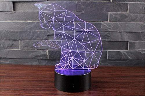 Baby Spielzeug 3D Vision LED 16 colores cambiar gato lámpara escritorio ilusión lámpara dormitorio hogar fiesta deco regalo 3D noche luz