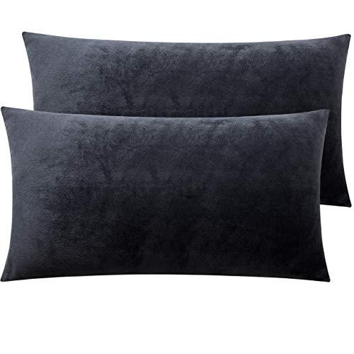 NTBAY Kissenbezüge aus Samt mit Reißverschluss, 2er-Pack super weiche und gemütliche Kissenbezüge, 50x90 cm, Kohlengrau