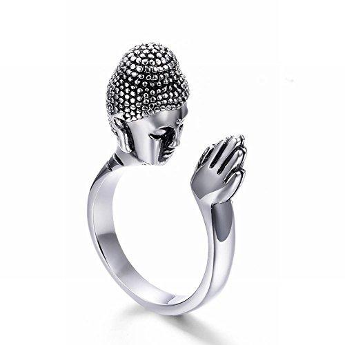 Thumby Anillo de la Cabeza de Buda de Buda de Buda de Acero de Titanio de la Paz de Buda Buscar la Paz Bendición Apertura Anillo Ajustable de Acero Inoxidable Buda Unisex, Acero, 13