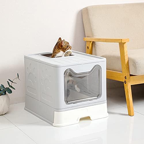 Lettiera per gatti, con cassetto e paletta per la lettiera, facile da pulire, 51 x 41 x 38 cm, colore: grigio