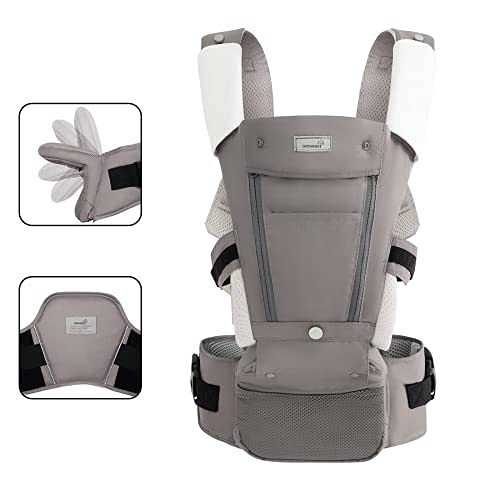 Ergonomic Baby Carrier Wrap Newborns to Toddler All Seasons Foldable Hip Seat with Lumbar Support for Newborns to Toddler 7-33 lbs