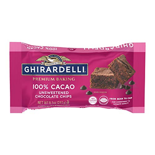 Ghirardelli 100% Cacao Unsweetened Chocolate Chips for Baking, Premium Baking Chips, 8.5 OZ Bag (12 Pack)