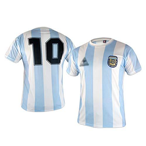 AWJK Argentina Ball King Diego Maradona No. 10 Retro de Manga Corta...