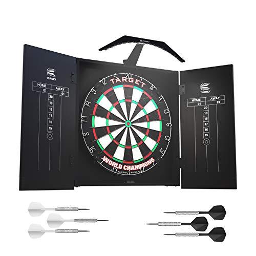 Target Darts Arc Dartboard-Beleuchtungssystem im Heimkabinett-Set Inklusive Weltmeister-Dartboard und 2 Dart-Sets, Schwarz, Standardgröße