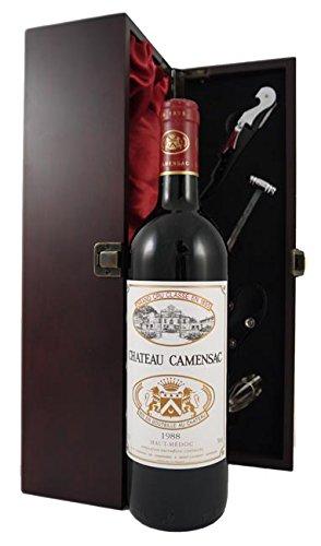 Chateau Camensac 1988 Haut Medoc Grand Cru Classe in einer mit Seide ausgestatetten Geschenkbox. Da zu vier Wein Zubehör, Korkenzieher, Giesser, Kapselabschneider,Weinthermometer, 1 x 750ml