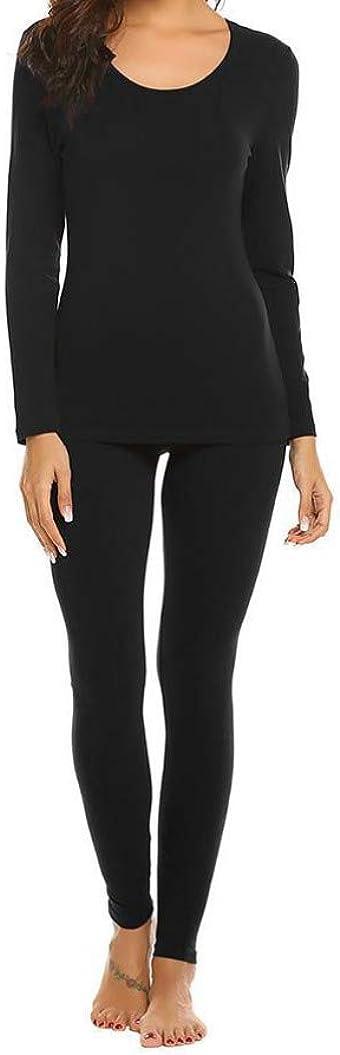 Women Thermal Underwear Set Casual Autumn Winter O-Neck Tops Elastic Pants Slim Pajamas Nightwear