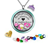 A Touch of Dazzle Womens Floating Locket Necklace- Fashion Jewelry Birthstone Gifts, Mother Daughter, Father Daughter Memory Pendant